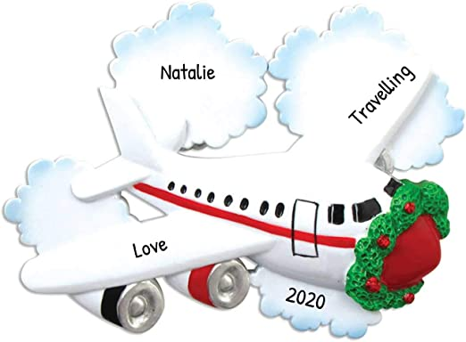 Christmas 2020 Airfare Amazon.com: Personalized Jetliner with Clouds Christmas Tree