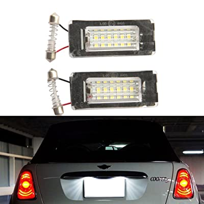 NSLUMO Mini Cooper LED Rear License Plate Light Bulb Assembly Directly Fit for 2006-2014 2nd Gen MINI Cooper R56 R57 R58 R59: Automotive
