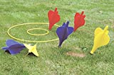 GLOW Premier Sports Giant Garden Darts Game – Traditional Family Grass Lawn Darts Toy Set with 6 x Bright and Colourful Giant Darts with Metal Weighted Tips, 2 x Target Rings and 1 x Starter Ring - Great Classic Fun for both Adults and Kids Indoor Outdoor Play in Garden Patio Park Beach Home School Picnic BBQ Party