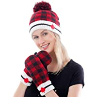 Belle Dame Maple Leaf Canadian Themed Winter Beanie Hat Mittens Gloves Set Warm Knit with Fleece Lined