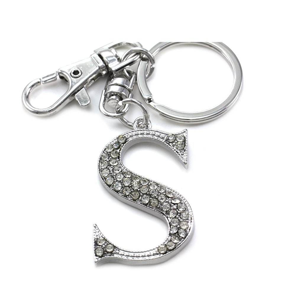 Mother's Day Gift & Valentine's Day Gift & Wedding Gift Initial Name Letter S Keychain Key Ring Charm
