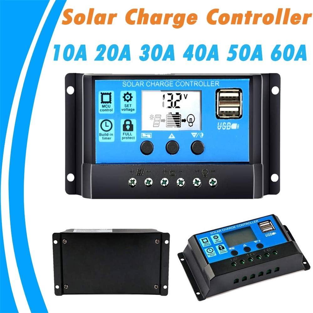 EMGOD Estabilizador Regulador Solar, 10A 20A 30A 40A 50A 60A Controlador Solar, LCD Dual USB del Panel Solar Regulador,60A
