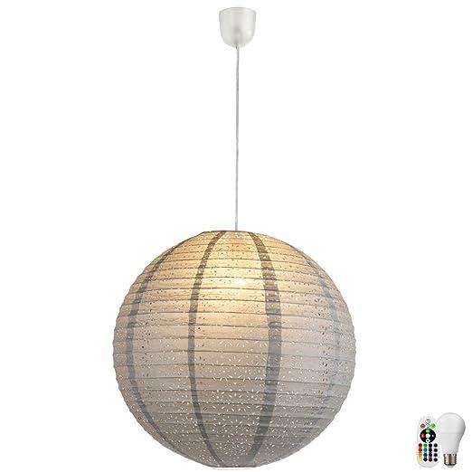 FERNBEDIENUNG RGB LED Hänge Decken Leuchte Papier Dekor Esszimmer Lampe EEK A