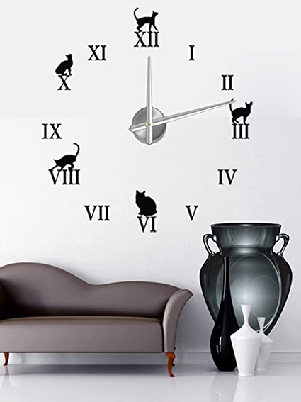 Cats Roman Numbers Black Large DIY Frameless 3D Big Mirror Surface Wall Clock Oversized Watches Clock Home Decoration Living Room D cor Wall Sticker Decal