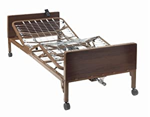 "Full Electric Hospital Bed with Half Rails Included - for Home Care Use and Medical Facilities - Fully Adjustable, Easy Transport Casters, Remote - 80"" x 36"" - No Mattress"