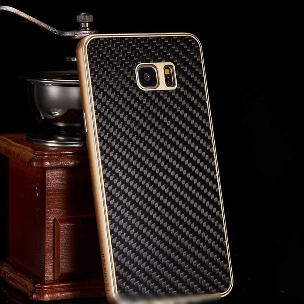 ACHAOHUIXI ファッションカーボンファイバー携帯電話ケースメタルシェルサムスンS6エッジ、S6エッジプラス、S7エッジ、S7、S7エッジ、S8、S8 PlusNote5、Note8用の新しい保護カバー電話ケース (Color : 黒, Edition : Note8)