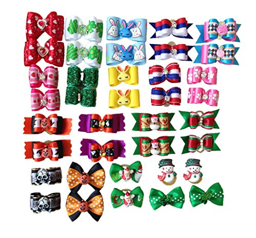 PET SHOW Assorted Styles Dog Hair Bows For Festival Party Pet Puppy Cats Hair Bow With Rubber Bands Accessories Pack of 20Pairs by PET SHOW (Image #5)