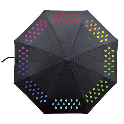 Ai-life Paraguas Cambiador de Color Creativo, Triple portátil plegable agua activada Gotas de