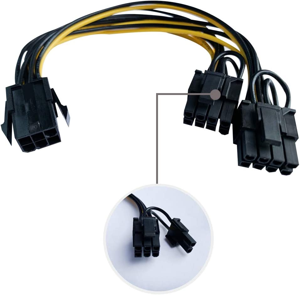 8inch 6pin+2pin Male PCIe Power Splitter Cable for Graphics Video Card OOMIAK 2 Pack 6pin Female PCI Express PCIe to Dual 8pin