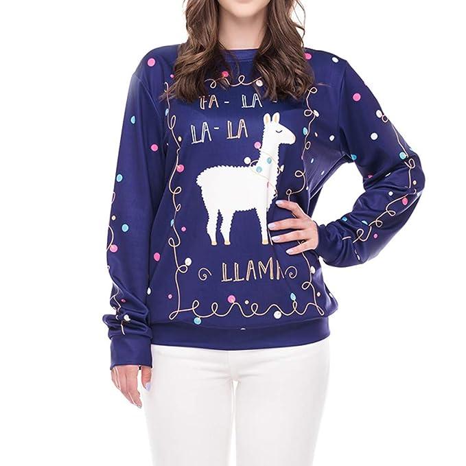Anglewolf - Sudadera con capucha para mujer, diseño de letras de Navidad, impresión 3D, manga larga, con capucha, cuello redondo large azul: Amazon.es: ...