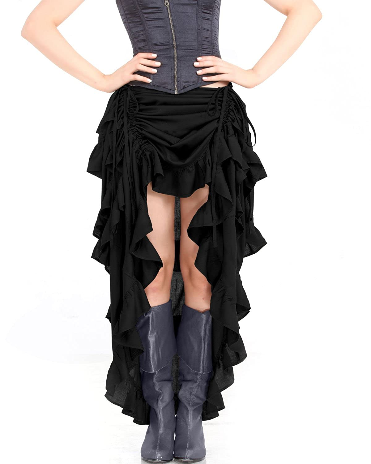 Steampunk Skirts | Bustle Skirts, Lace Skirts, Ruffle Skirts Steampunk Victorian Gothic Womens Costume Show Girl Skirt (Black) $53.99 AT vintagedancer.com