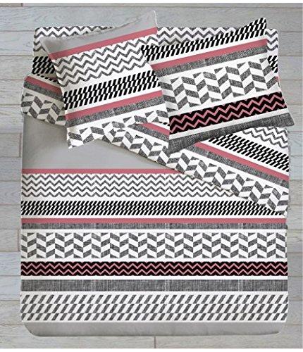 SOMTEX Waves Lenzuolo, 100% Cotone, Stampato géometrique di Colori Rosa, Grigio e Nero, 240x 300cm Stampato géometrique di Colori Rosa 240x 300cm IMRAN DP240_COT_WAVES