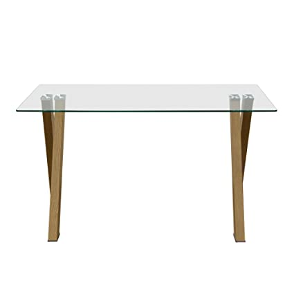 Amazoncom Element Rectangular Glass Top Dining Table With Metal - Rectangular glass dining table with wood base