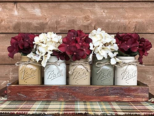 - HOLIDAY Centerpiece Mason JARS in Wood Antique White or Red Tray with 5 Ball Pint Jar -Kitchen Table -Christmas Decor -Distressed Rustic -Florals (OPTIONAL) - Pine Berries Green Evergreens Flowers