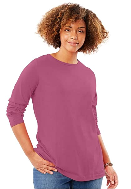 62c68cd6 Image Unavailable. Image not available for. Color: Woman Within Plus Size  Crewneck Long Sleeve Perfect Tee ...