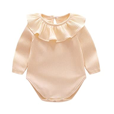 6d6a2b80f Amazon.com  Baby Rompers Toddler Girl Clothes Long Sleeve Ruffles ...