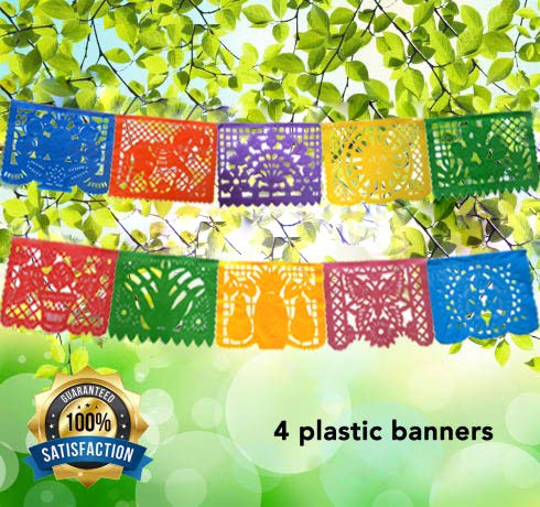 Mexican Decoration Papel Picado Plastic Banner Colorful Tissue Paper Coco Movie -Fiesta Party Birthday Family Celebrations- 64 Feet Includes 4 Large Banners (16 Feet Long 10 Panels each)- Handmade -