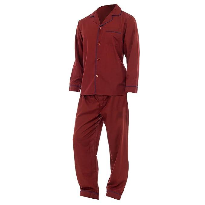 Conjunto pijama camisa de manga larga y pantalones liso hombre caballero (M - P 109