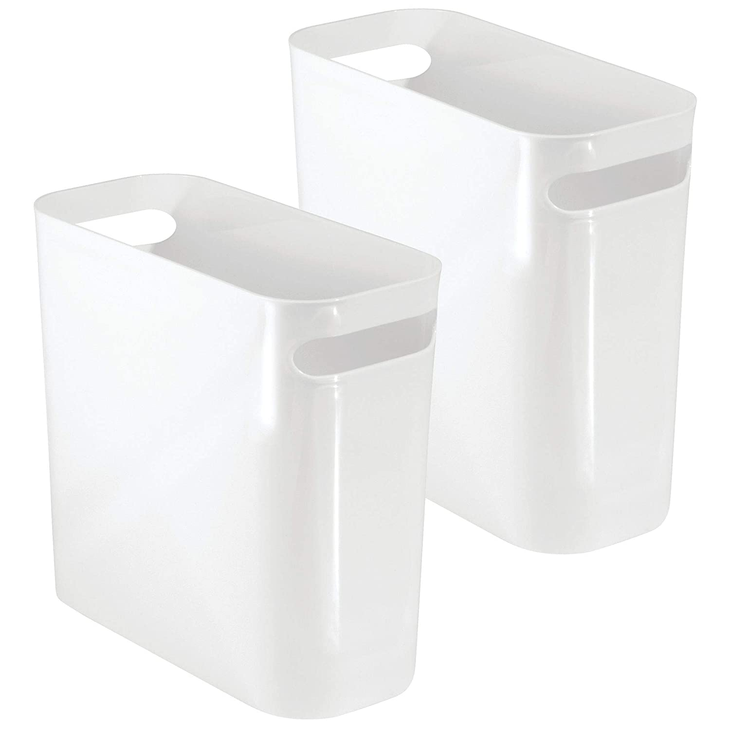 "mDesign Slim Plastic Rectangular Small Trash Can Wastebasket, Garbage Container Bin with Handles for Bathroom, Kitchen, Home Office, Dorm, Kids Room - 10"" High, Shatter-Resistant - 2 Pack - White"
