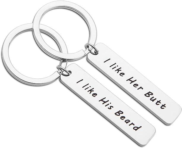 Accessories Stainless Steel I Like His Beard Key Holder Keychain Letter Keyring