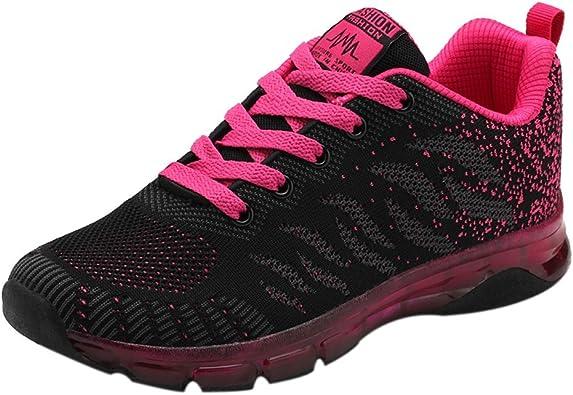 Zapatillas De Deporte De Mujer,Zapatillas Tejidas Voladoras Zapatillas De Deporte con AmortiguacióN De Aire Netas para Estudiantes: Amazon.es: Zapatos y complementos