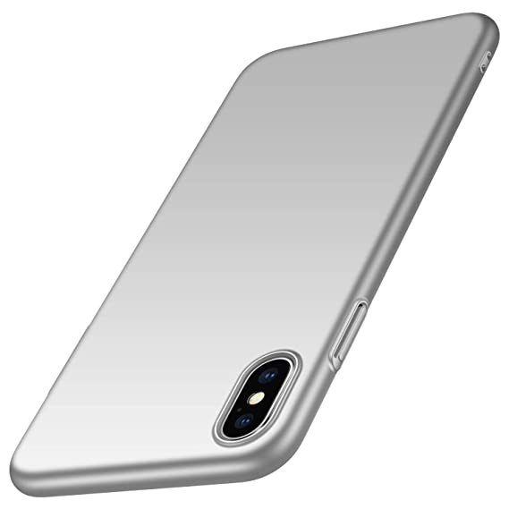 3f2944ed35101 kqimi Slim Fit iPhone Xs Max Case [Ultra-Thin] Hard Plastic PC Premium  Material Full Protection Cover for iPhone Xs Max 6.5 inch (Silver)