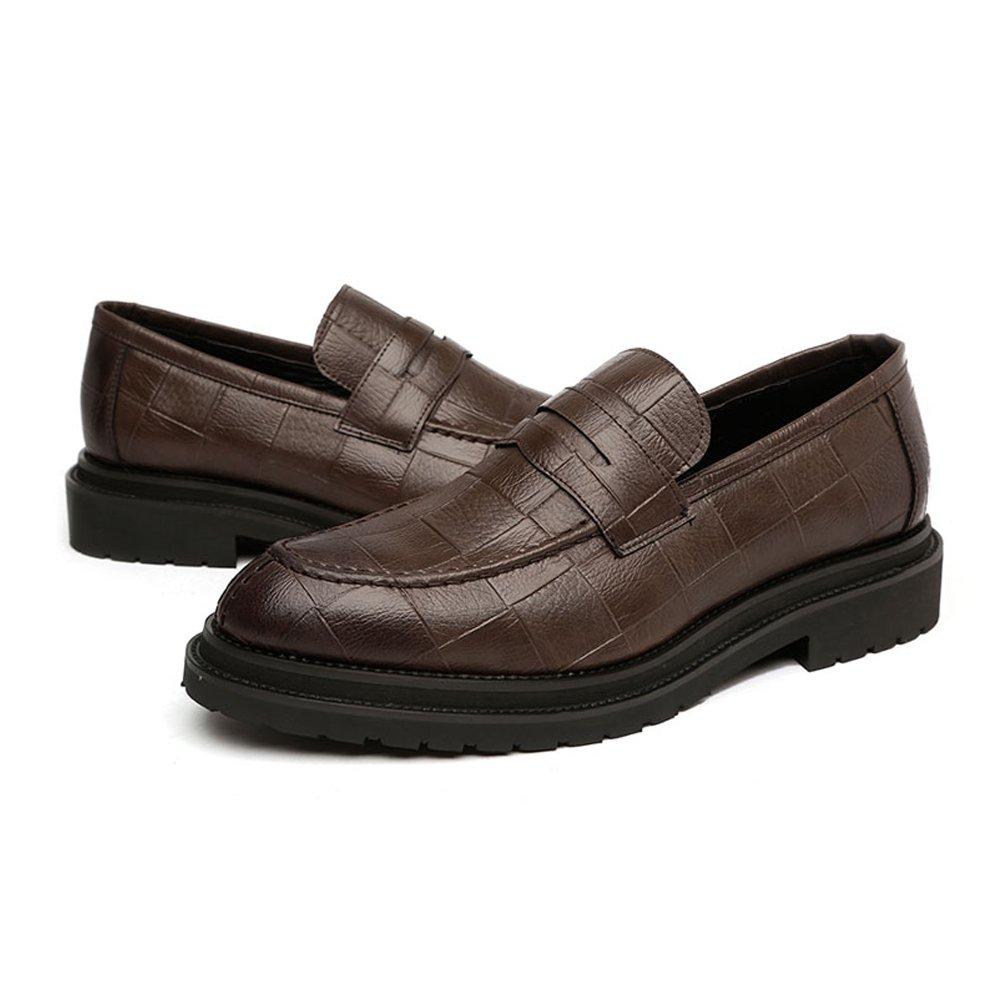 XHD-Schuhe Geschäft PU-Leder der Einfachen Männer Beschuht Klassische Beleg-auf Müßiggänger-Quadratische Outsole Beschaffenheit Outsole Müßiggänger-Quadratische Oxfords (Farbe   Braun, Größe   9.5MUS) 56caa2