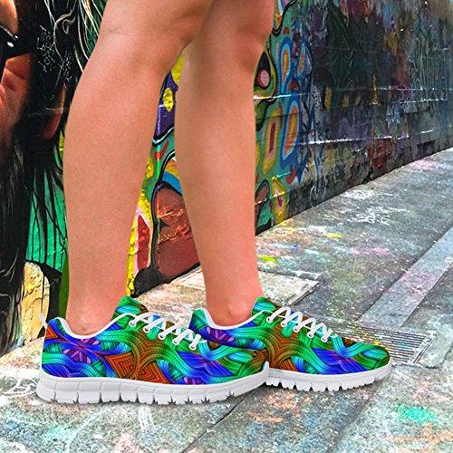 Bigcardesigns Womens Mode Färg Löparskor Sneakers Snörning Retro 2