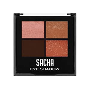 Quad Eye Shadow by Sacha Cosmetics, Best Highly Pigmented Eyeshadow Makeup Powder, Shimmer Glitter & Matte Colors, 1.4 Oz, Almond Pearl