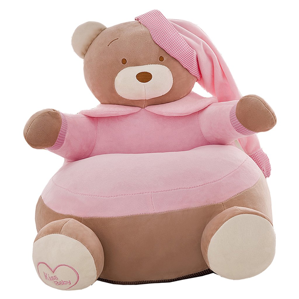 Fityle Lovely Crown Bear Children Seat Sofa Bean Bag Cover Kids Chair Furniture - Only Cover - #2 Light Pink, 20x20 Inch