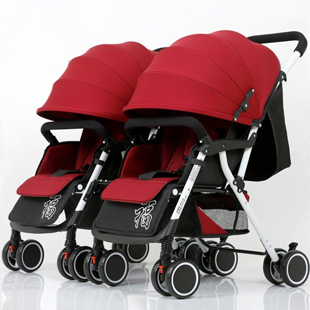 HAIZHEN マウンテンバイク ダブルベビーカーツインベビーカーベビーカー脱着式折りたたみ軽量サスペンション新生児 新生児 B07C88LTC2 赤 赤