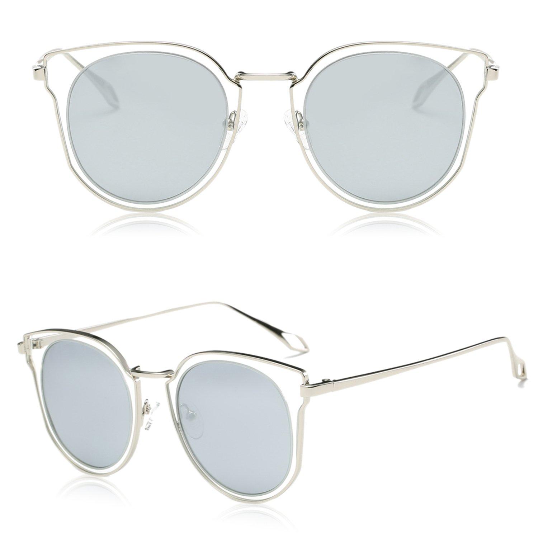 df6c88338d SOJOS Fashion Polarized Sunglasses for Women UV400 Mirrored Lens SJ1057  with Silver Frame Crystal Silver Mirrored Lens - SJ1057C3   Sunglasses    Clothing