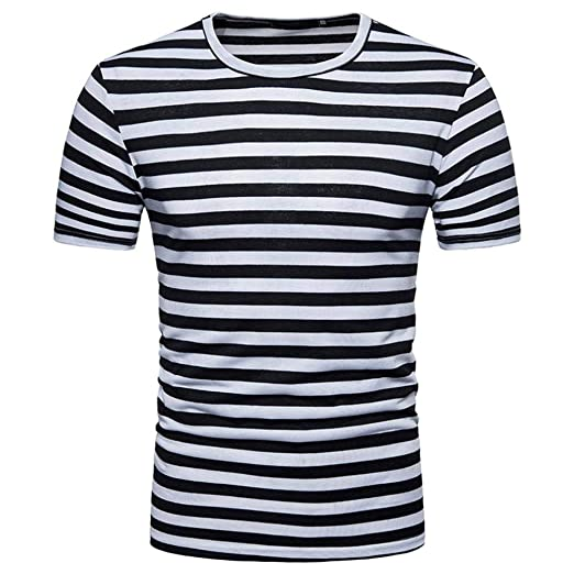 9d2a77252be Image Unavailable. Image not available for. Color  Lelili Men Summer  Fashion Tee Shirt Striped ...