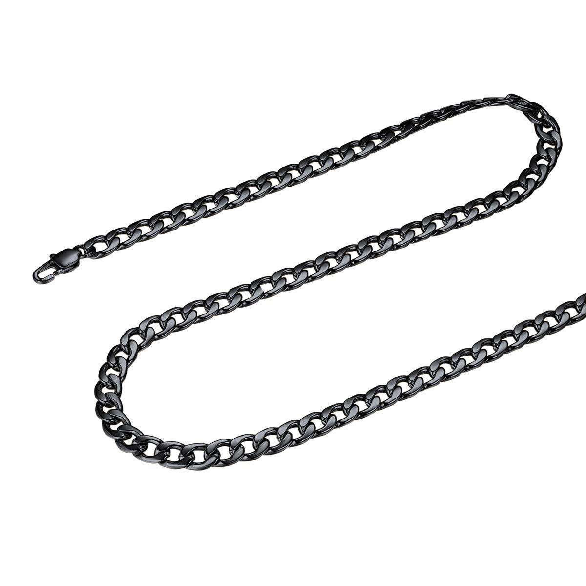 Longueur 45cm//50cm//55cm//60cm//65cm//70cm//75cm FOCALOOK Cha/îne Collier Gourmette 5mm Bijoux Homme Acier INOX//Plaqu/é Or 18 Carats//Noir Curb Chain Necklace Cadeau Id/éal