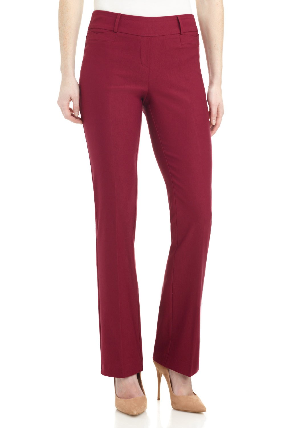 Rekucci Women's Ease In To Comfort Fit Barely Bootcut Stretch Pants (14,Burgundy) by Rekucci (Image #1)