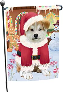 Doggie of the Day Christmas Gingerbread House Candyfest Akita Dog Garden Flag GFLG56673