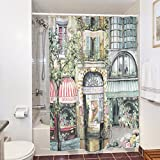"A.Monamour Paris City Street Scene Vintage Print Waterproof Polyester Cloth Long Shower Curtain Bathroom Decoration 180X200 Cm / 72"" X78"""