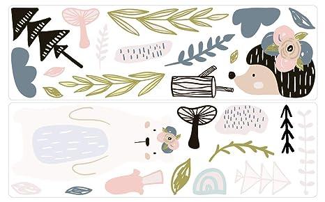 dekodino® Pegatina de pared Animales bosque pastele dar erizos ...