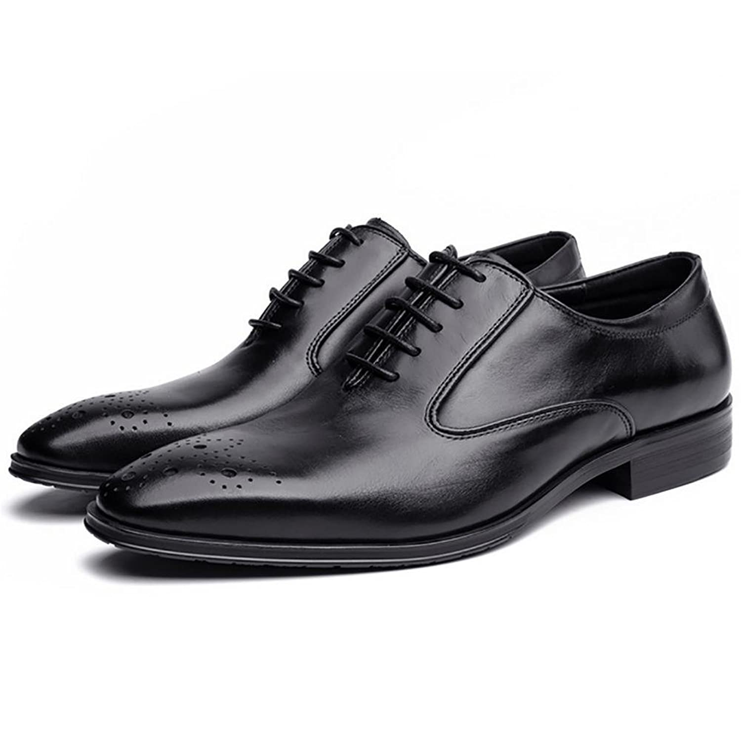 SYYAN Men's Leather Breathable Pointed Lace Hand-made The Pack Wingtip Oxford Business