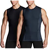 TSLA Men's (Pack of 1, 2, 3) Sleeveless Workout Shirts, Dry Fit Running Compression Cutoff Shirts, Athletic Training…