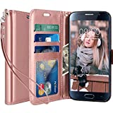Galaxy S6 Case, LK Luxury PU Leather Wallet Flip Protective Case Cover with Card Slots and Stand for Samsung Galaxy S6 (Rose Gold)