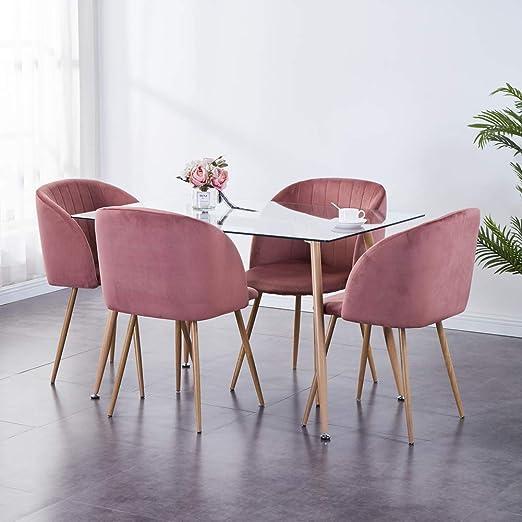 Juego de mesa de comedor y 4 sillas GOLDFAN, mesa rectangular ...
