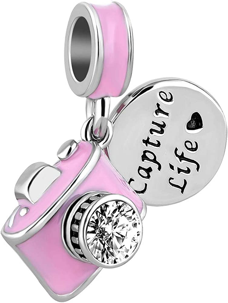 CharmSStory Camera Capture Life Travel Dangle Charm Bead for Charm Bracelet