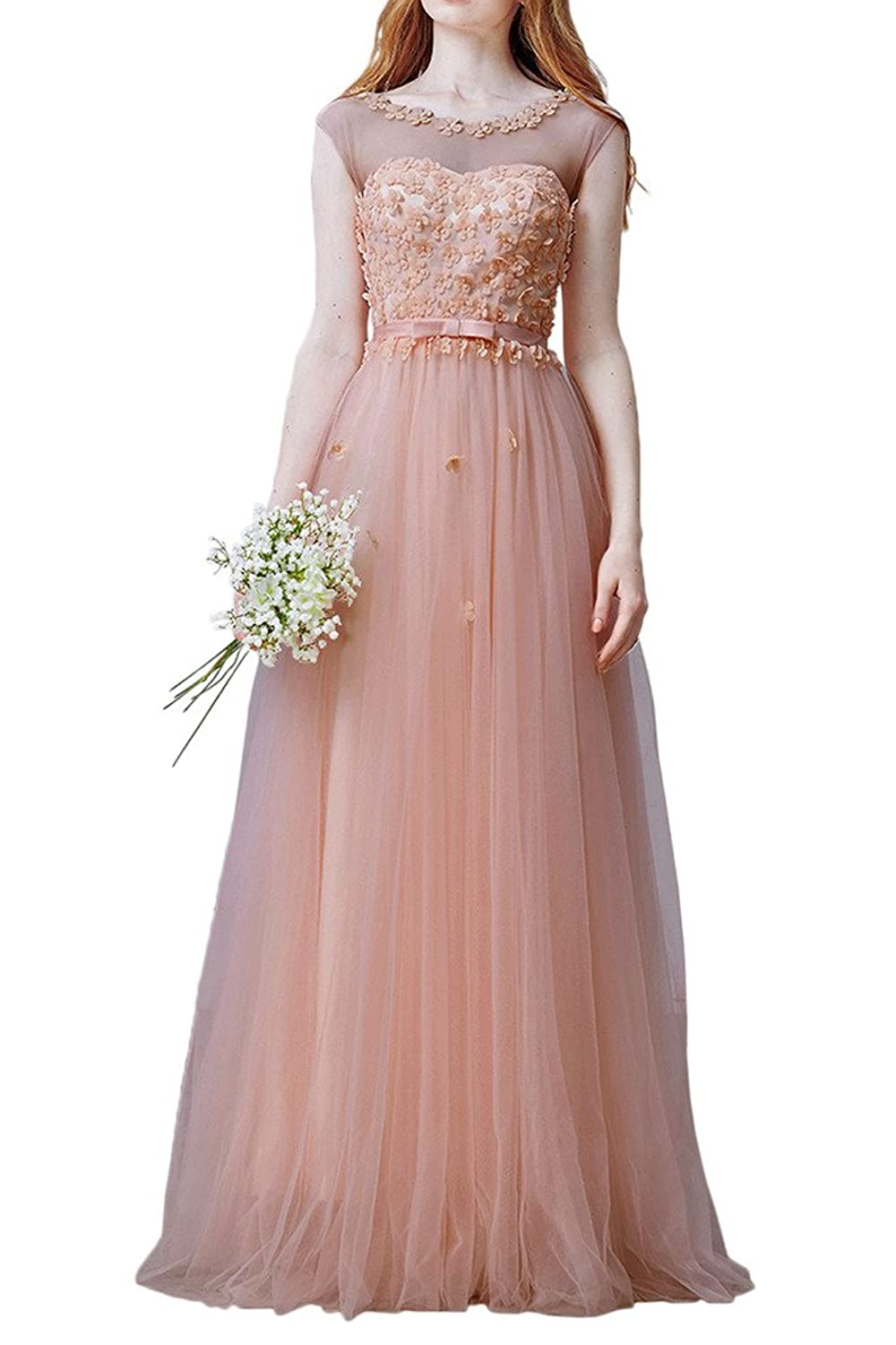 Sunvary Noble Cap Sleeves A Line Bridesmaid Dress Evening Dresses Prom Gowns