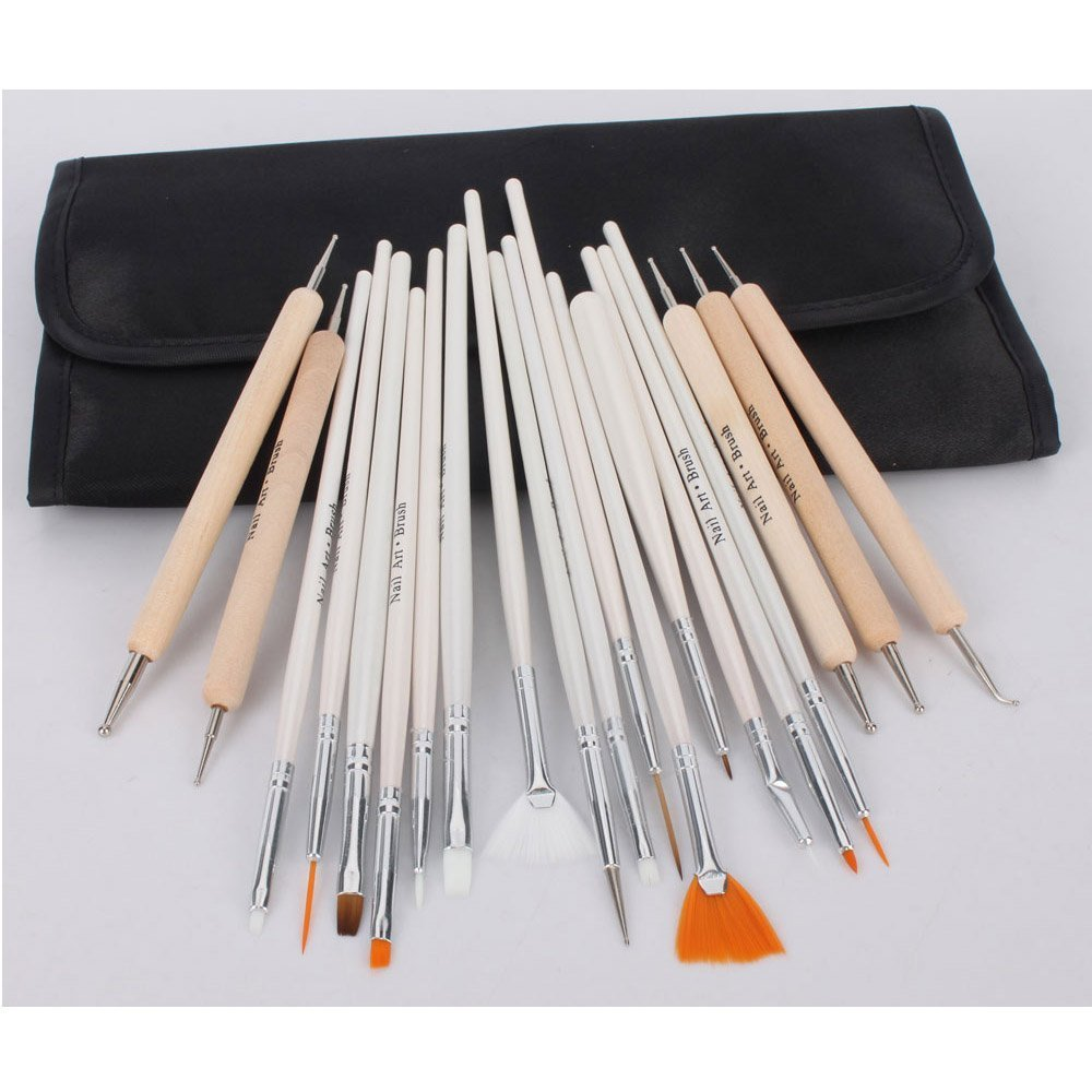 Amazon.com : 20pc Nail Art Design Painting Detailing Brushes ...