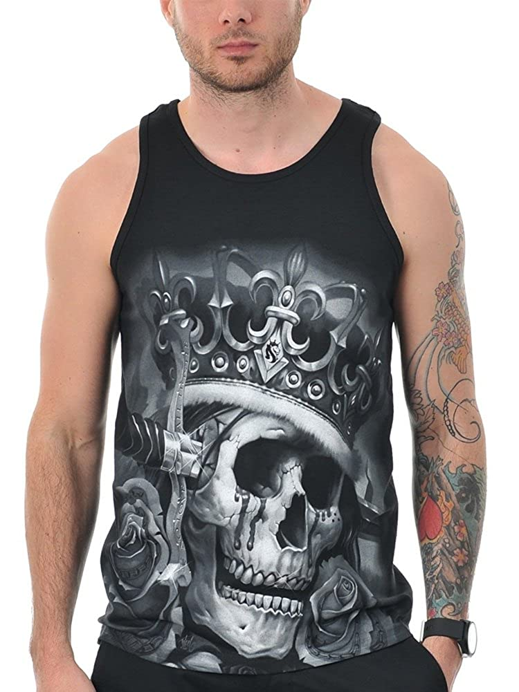 OGABEL Mens Suicide King Tank Top Shirt Black 2XL