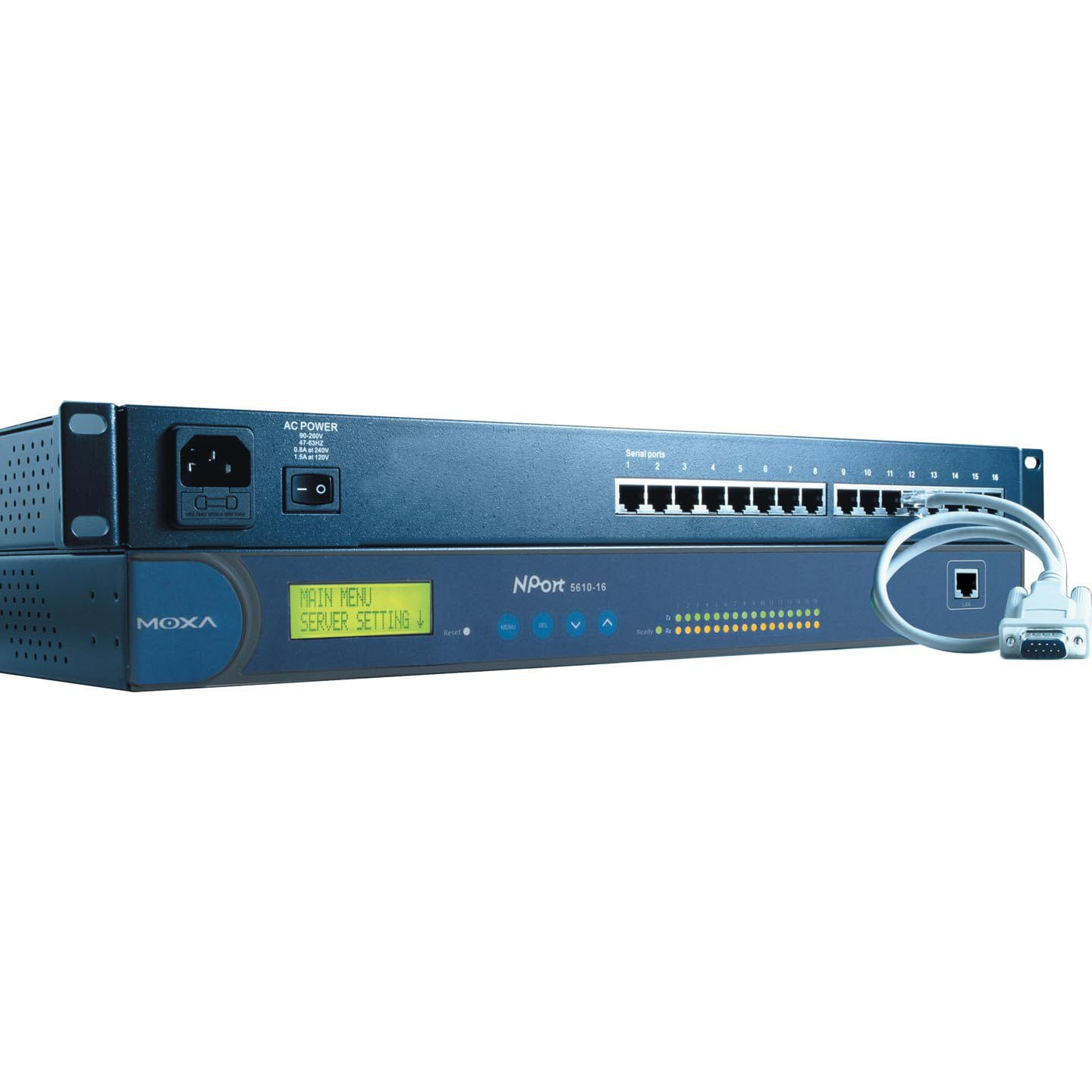 MOXA NPort 5610-16 16-Port RS-232 Rackmount Serial Device Server, 10/100M Ethernet, RS-232, RJ-45 8pin, 15KV ESD, 100-240 VAC Power Input. by Moxa