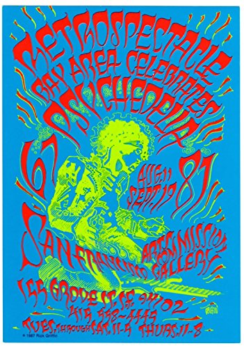 Original Rick Griffin 1987 Psychedelia Retrospectacle Jimi Hendrix Postcard (Xox Collection)