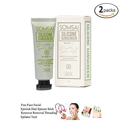 2 UNITS OF SOMSAI SILICONE SUNSCREEN SPF 50 PA++ 20G. OIL CONTROL BRIGHTENING SUITABLE FOR ALL SKIN TYPE WATER PROOF[GET FREE TOMATO FACIAL MASK]