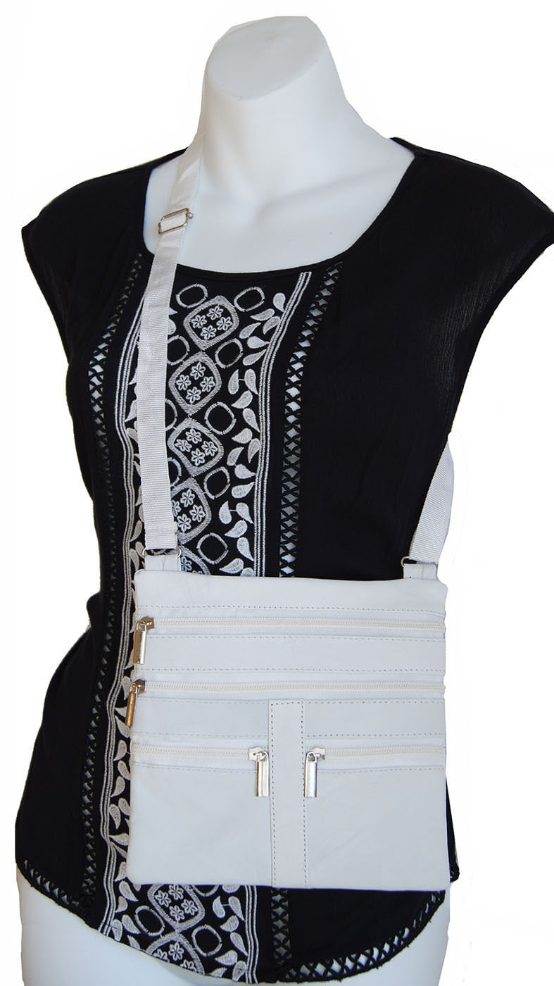 White Ladies Genuine Leather Cross Body Bag Satchel Messenger Bag 48'' Strap